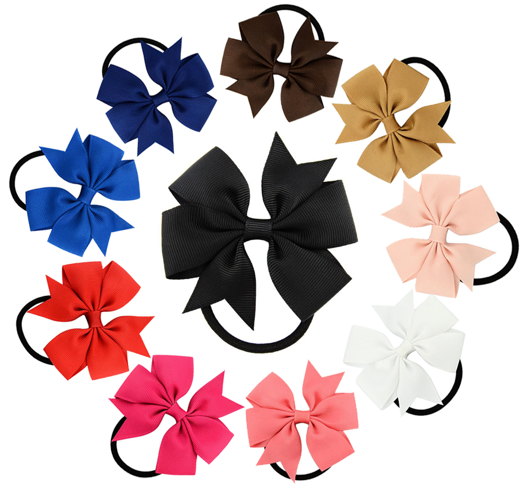 10 Pieces Hair Bows, Fascigirl Bow rubber band Grosgrain Ribbon Elastics Accessory for Baby Girls Kids Teens Toddlers Children