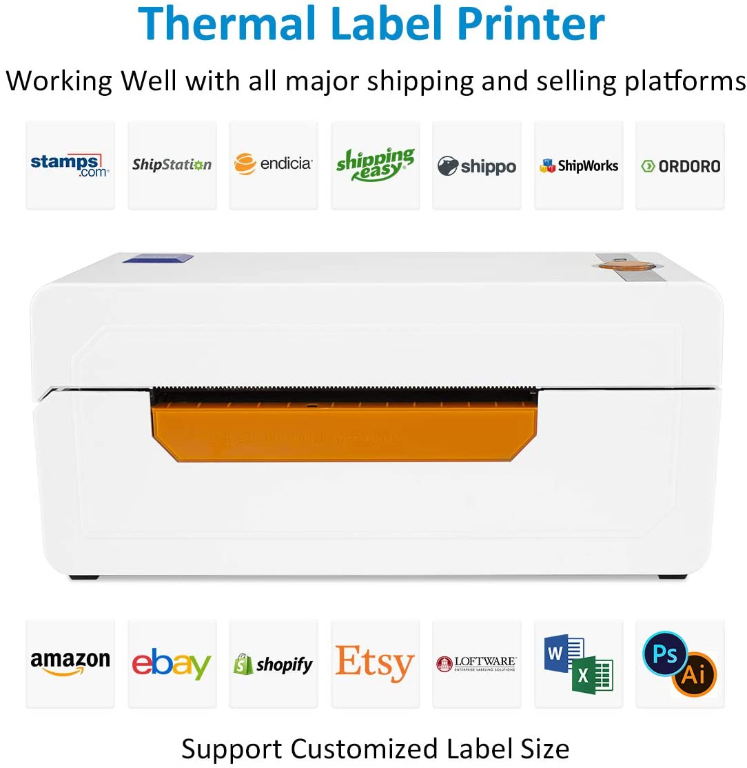 NETUM Shipping Label Printer with Label Holder Barcode Printer High Speed Direct Thermal Label Printer 4x6 Label Maker Writer Machine Compatible with Ebay,,USPS,Etsy,Shopify