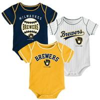 Newborn & Infant Navy/Gold/White Milwaukee Brewers 3-Pack Bodysuit Set