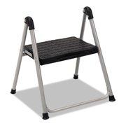 "Cosco Folding Step Stool, 1-Step, 200lb, 9 9/10"" Working Height, Platinum/Black"