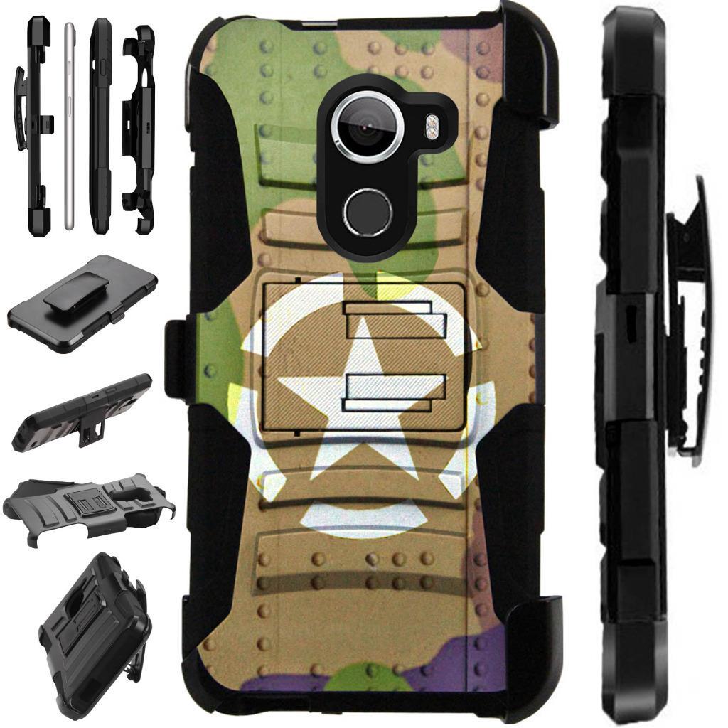 For T-Mobile REVVL / Alcatel A30 Fierce (MetroPCS) / Alcatel A30 Plus (Amazon) / Alcatel Walters Case Hybrid Armor Dual Layer Cover Kick Stand Rugged LuxGuard Holster (Tank Shield Camo)