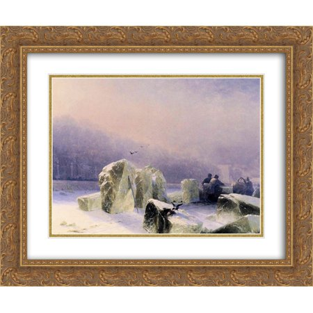 Ivan Aivazovsky 2x Matted 24x20 Gold Ornate Framed Art Print 'Ice Breakers on the Frozen Neva in St. Petersburg' - Halloween Party Ice Breakers For Adults