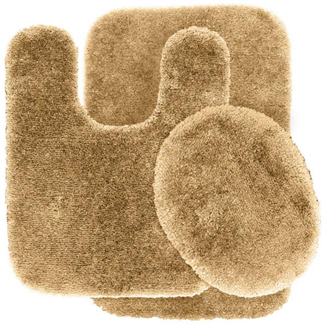 Garland Rug PRE-3pc-05 Finest Luxury Ultra Plush Washable Nylon Bathroom 3 Piece Rug Set Linen