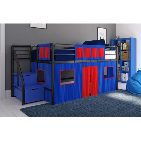 DHP Junior Black Loft Bed with Blue Storage Steps and Blue Curtain Set, Kid's Bundle, Twin
