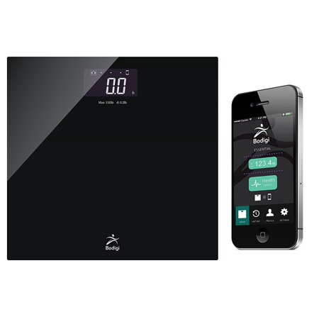 - American Weigh Scales BodigiEssential Wireless Bathroom Scale Black