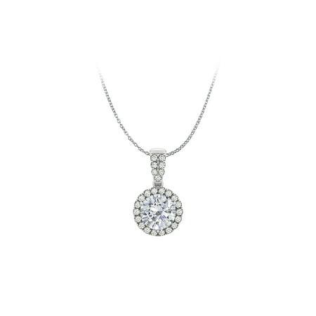 Jewelry Cubic Zirconia Halo Pendant 14K White Gold Free Chain - image 2 de 2