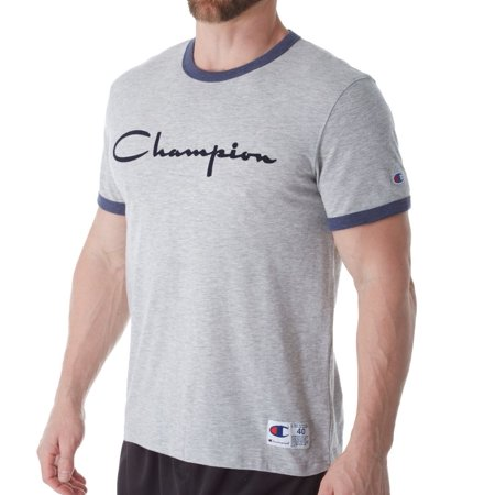 9eeb759780a7 Champion - Champion Men's Heritage Ringer Tee, Flocked Script Logo - Size -  M - Color - Oxford Grey/Imperial Indigo Heather - Walmart.com