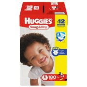 Huggies Snug & Dry Diapers Size 5 - 180 ct. ( Weight 27+ lbs.) - Bulk Qty, Free Shipping - Comfortable, Soft, No leaking & Good nite Diapers