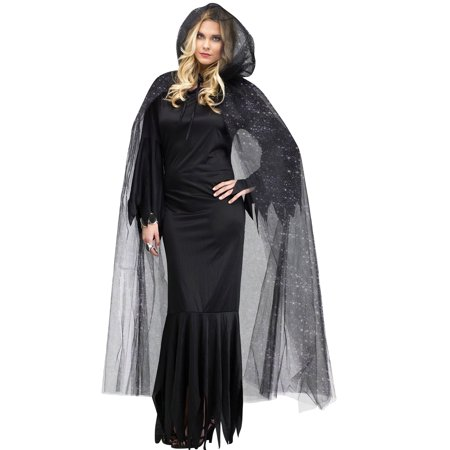 Snow Queen Cape (Adult Womens Black Sprinkle Gothic Cape Vampire Witch Queen Glitter)