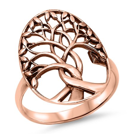 CHOOSE YOUR COLOR Oxidized Rose Gold-Tone Tree of Life Ring .925 Sterling Silver Band (Rose Gold-Tone/Ring Size 8) ()