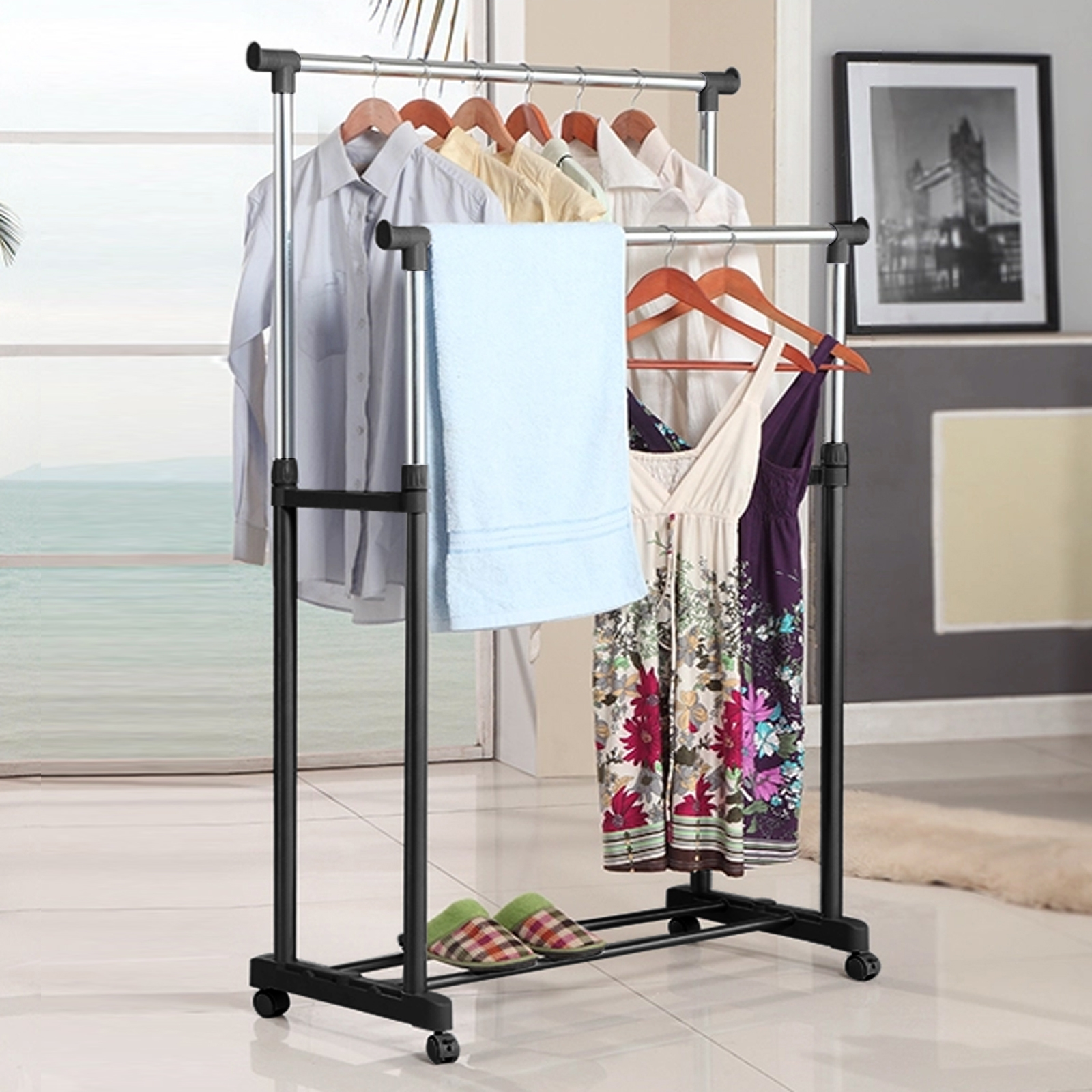 Double Rail Garment Rack Adjustable Rolling Clothes Drying Rack Laundry Hanger