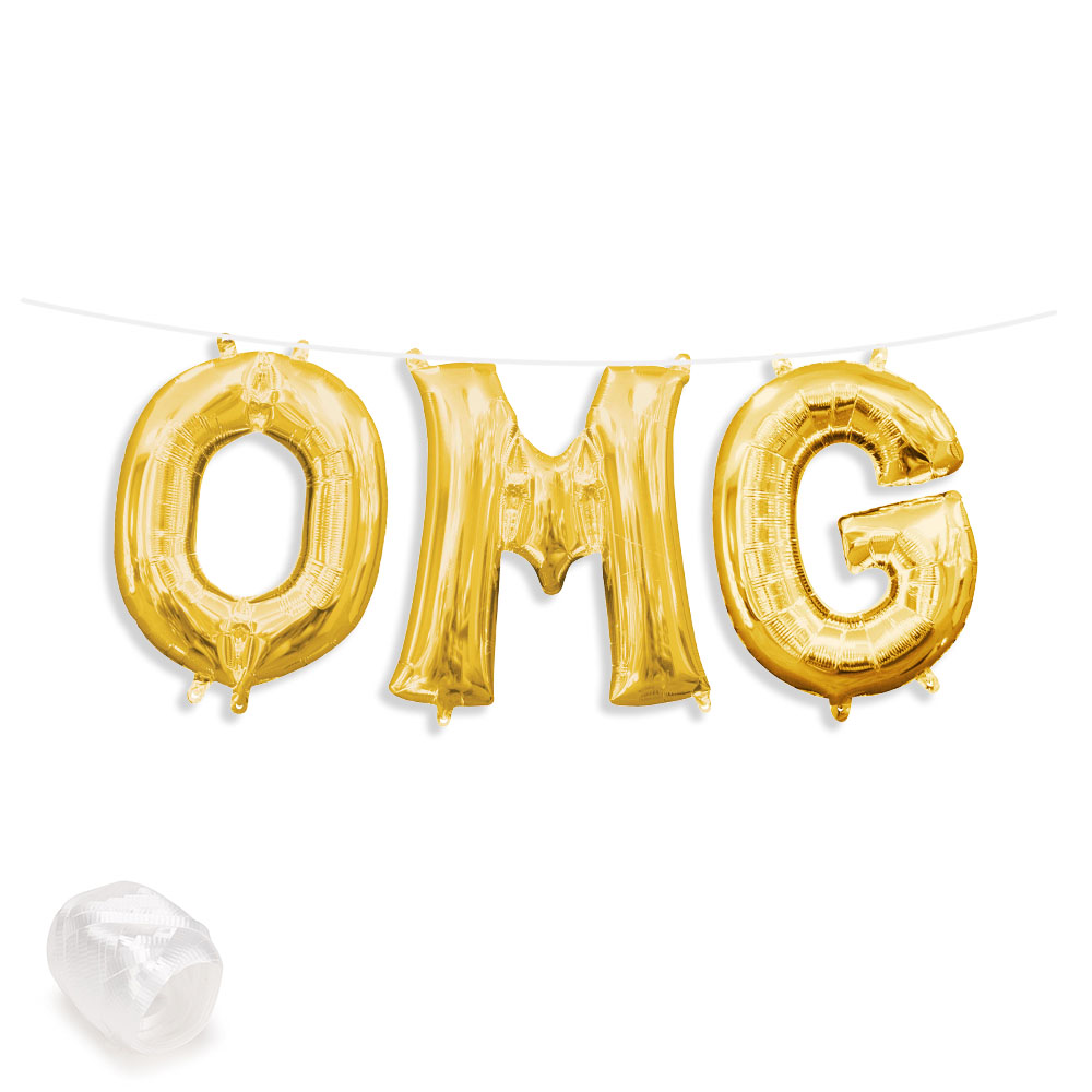 "Air-Fillable 13"" Gold Letter Balloon Kit ""OMG"" Party Supplies"