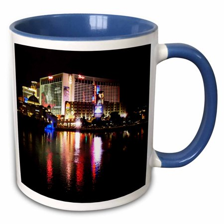 3dRose Flamingo Casino in Las Vegas Nevada - Two Tone Blue Mug, 15-ounce