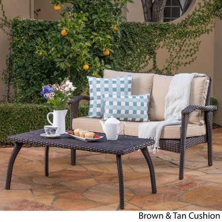 Christopher Knight Home Honolulu Outdoor 2-piece Wicker Loveseat and Coffee Table Set with Cushions by ()