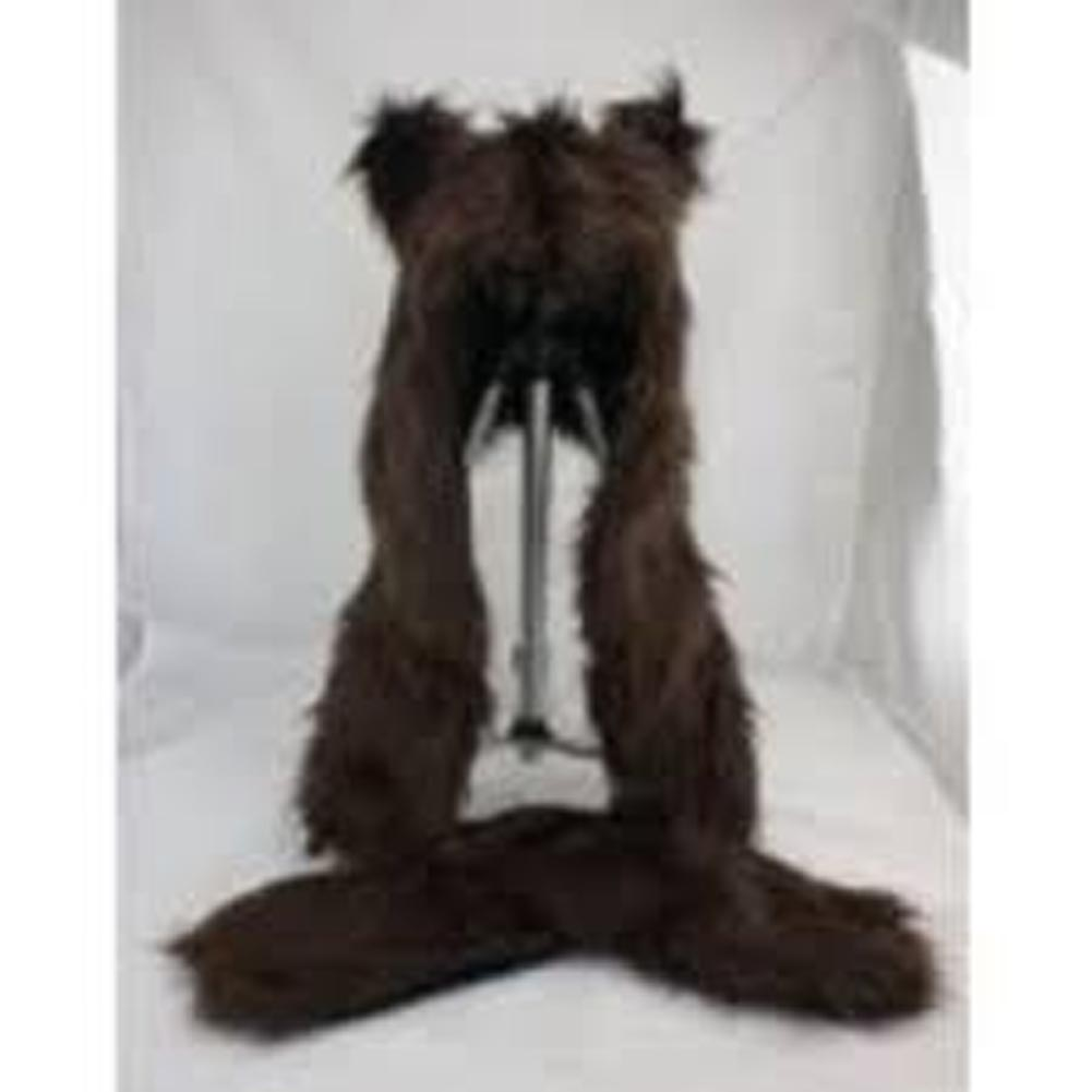 Wolf Costume Hat With Mittens: Brown