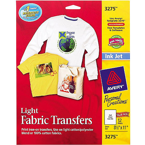 "Avery 12-Pack 8-1/2"" x 11"" T-Shirt Transfers for Inkjet Printers"