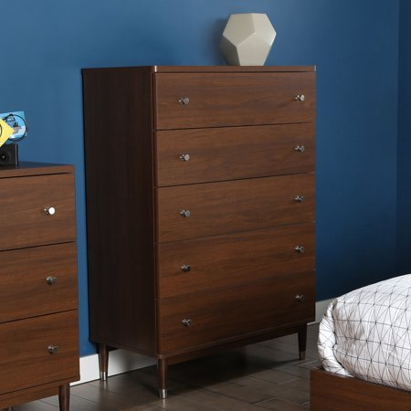 south shore olly mid century modern 5 drawer chest brown walnut. Black Bedroom Furniture Sets. Home Design Ideas