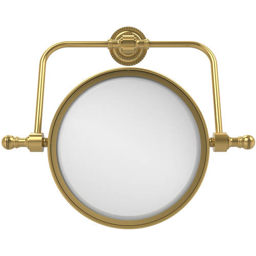 "Retro Dot Collection Wall-Mounted Swivel Make-Up Mirror, 8"" Diameter with 2x Magnification"
