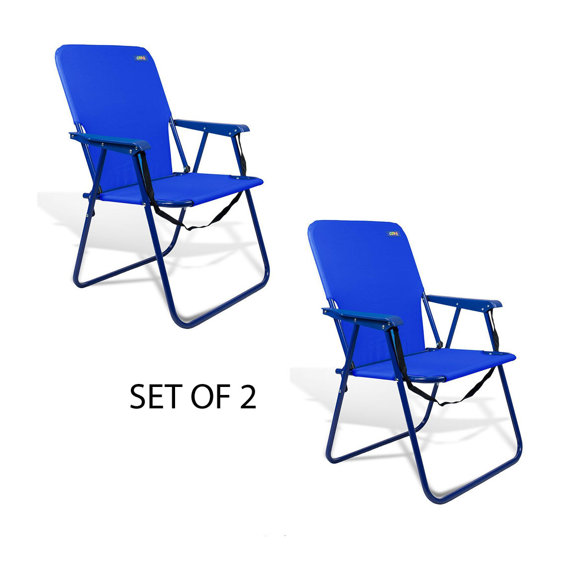 15 inch High Seat Steel Camping Beach Backpack Chair - Set of 2 Backpack Chairs