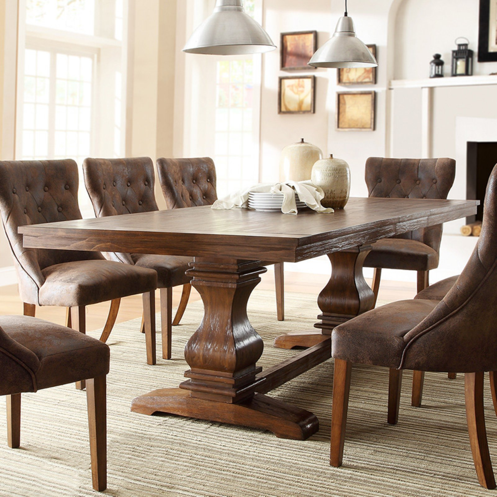 Weston Home Marie Louise Expandable Trestle Dining Table - Weathered Oak
