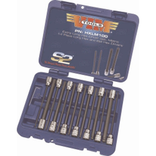 VIM Tools HXLM100 14 Piece Extra Long Metric Hex and Ball Hex Driver Set