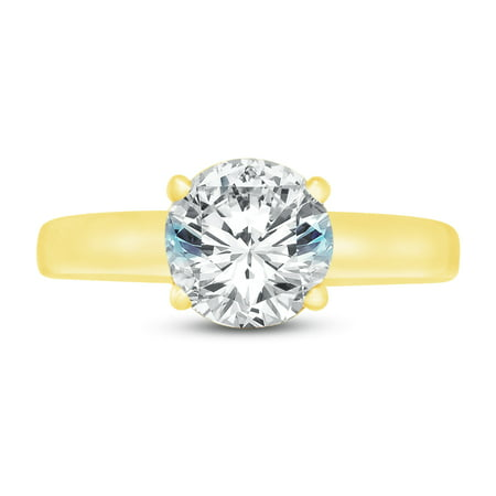 14k Big Sapphires (Solid 14k Yellow Gold Round Cut Large Big Classic Solitaire Wedding Engagement Ring CZ Cubic Zirconia 1.50ct. , Size 7 )