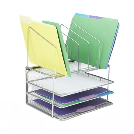 Mind Reader 5 Square Slots 3 Tier Mesh Tray Desk Organizer, Document Holder, Magazine Storage, Desktop File Organizer, Silver Tier Desktop Magazine Holder