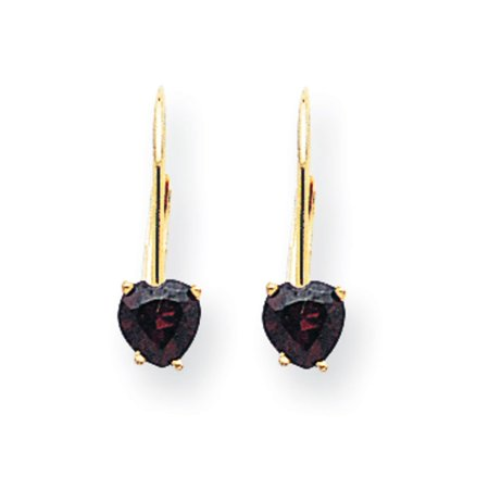 14k Yellow Gold 0.6IN Long 5mm Heart Garnet Earrings 14k Garnet Heart Earrings