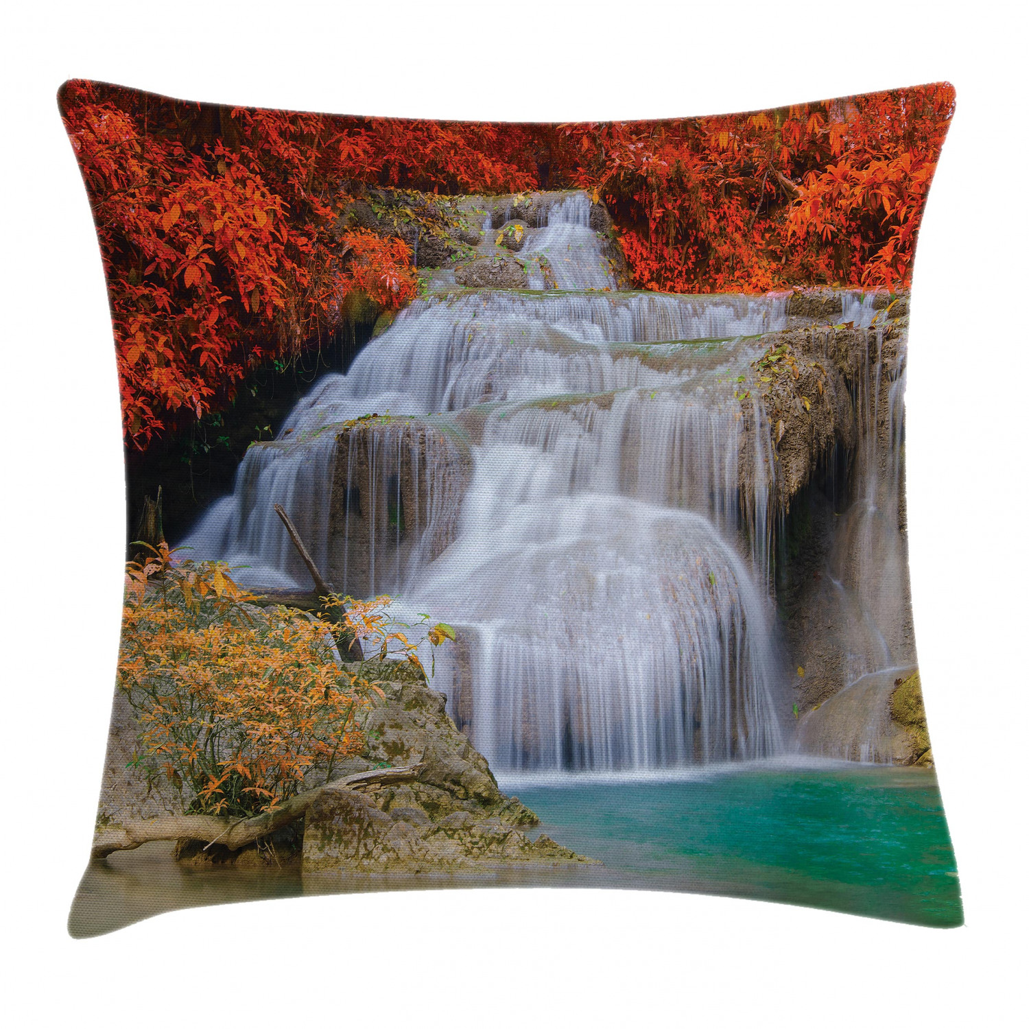 Waterfall Decor Throw Pillow Cushion Cover Lake Landscape Forest Surrounded By Autumn Leaves On Fall Trees Decorative Square Accent Pillow Case 16 X 16 Inches Blue White And Orange By Ambesonne
