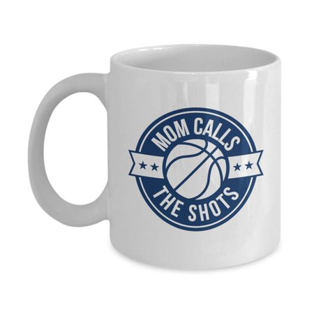 Mom Calls The Shots With Basketball Ball Funny Sports Theme Pun Ceramic Coffee & Tea Gift Mug, Party Supplies & Hot Chocolate Or Cocoa Cup For Sporty Playful Kids, Athletic Youth, Teens & Teenagers