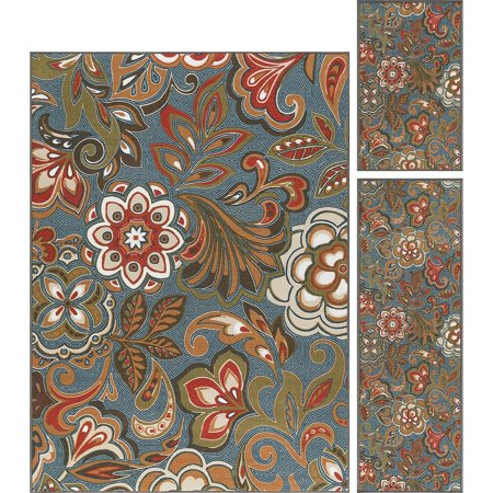 Alise Rugs  Majolica Transitional Floral Three Piece Set - 5' x