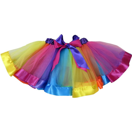 Wenchoice Girl'S Rainbow Striped Ribbon Trim Tutu Skirt  - Party City Rainbow Tutu