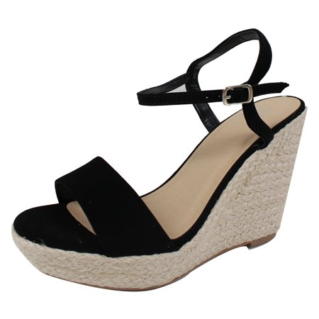 69cdea2ce9d Delicious Women's Open Toe Ankle Strap Espadrille Wedge Sandal (Black, 10  B(M) US)