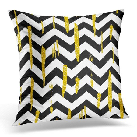 ARHOME Fragrant Shining with Gold Glitter Brush Strokes and Black and White Stripes Chevrons Ink Golden Shiny Pillow Case Pillow Cover 18x18 inch