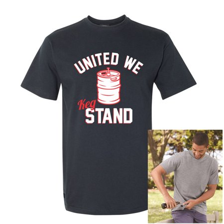 United We Keg Stand Small Navy Beer Cap Pop T-shirt