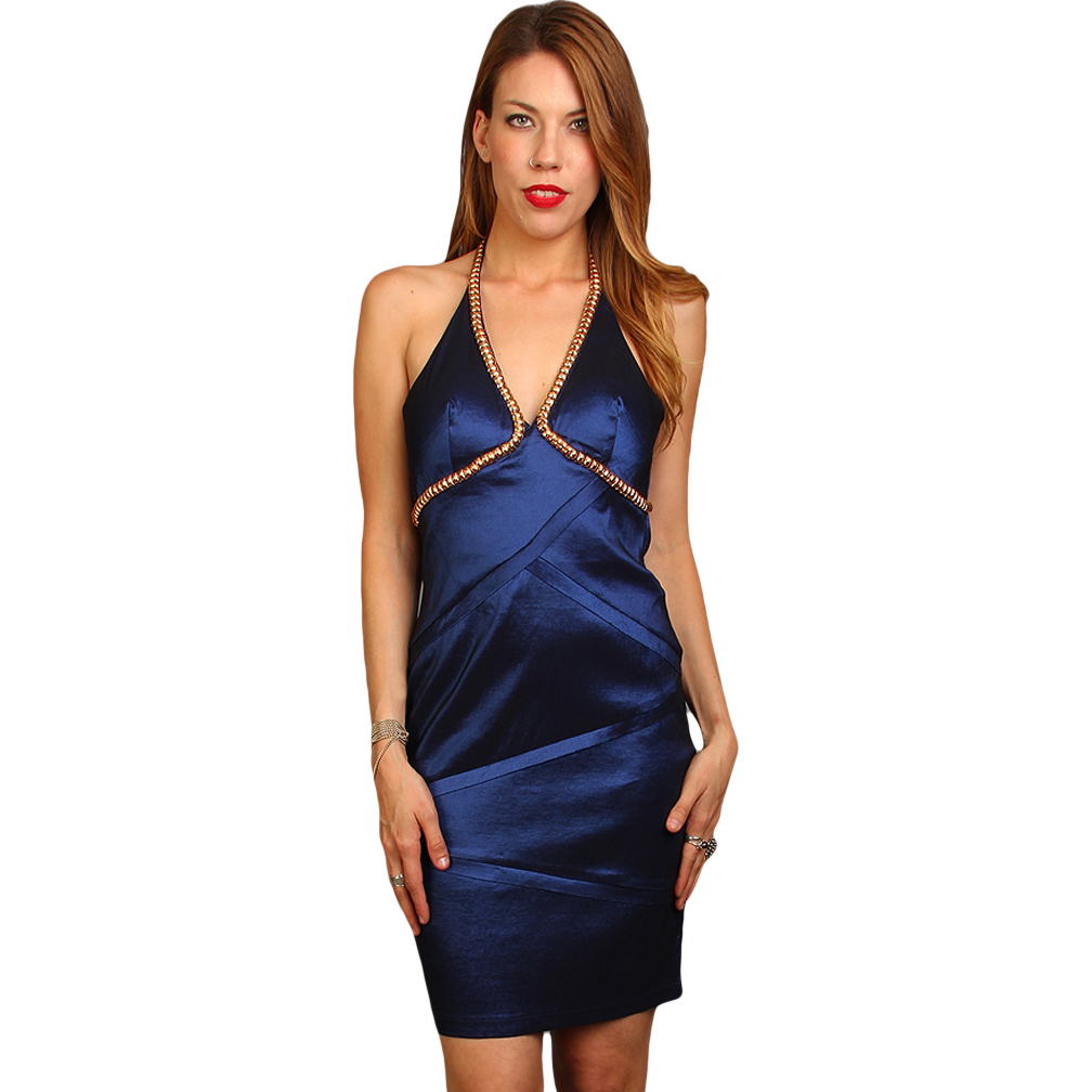 Luxury Divas Elegant Halter Top Navy Blue Cocktail Dress With Golden Trim