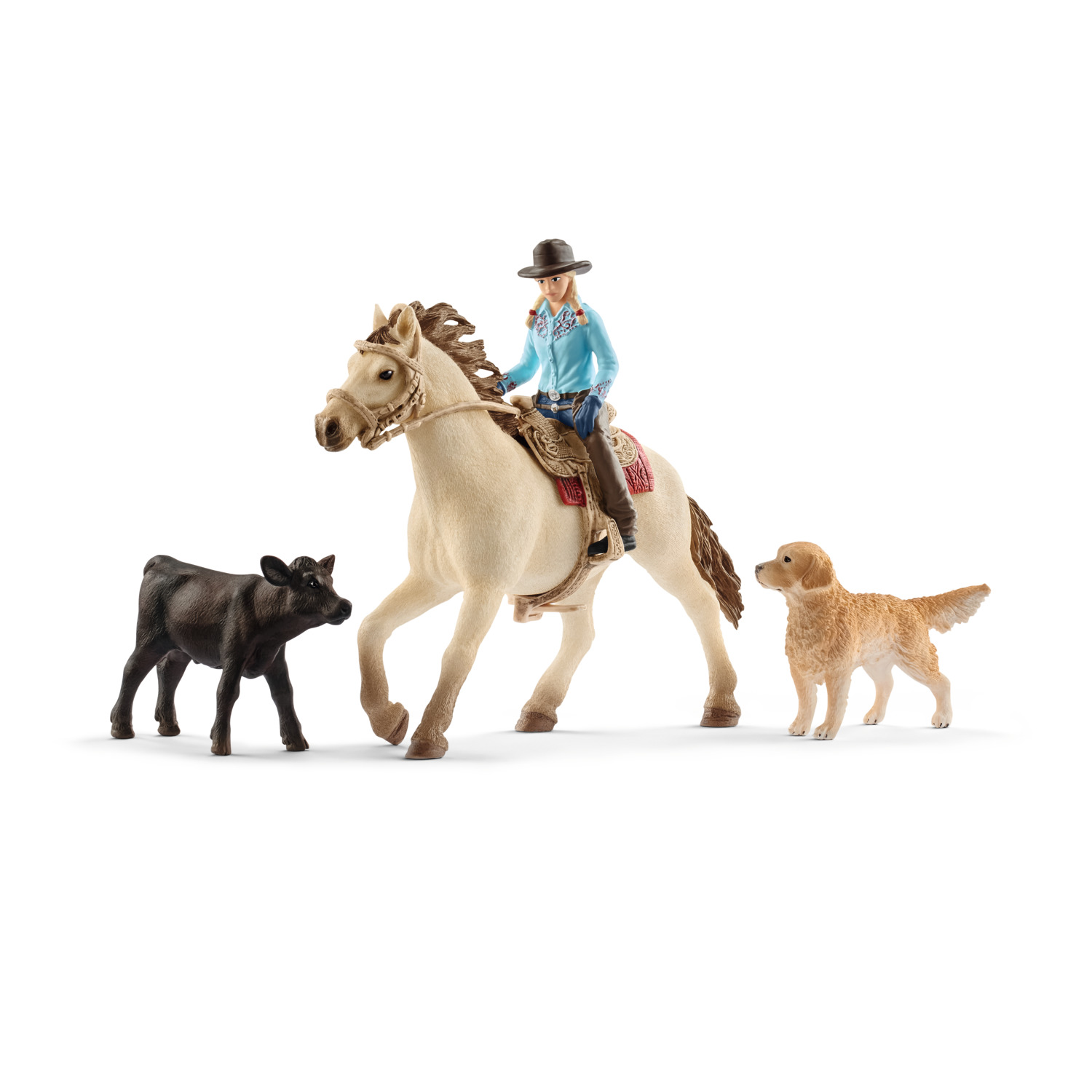 Schleich Farm World, Western Riding Multipack (Horse with Rider, Dog, Calf) Toy Figure by Schleich USA Inc