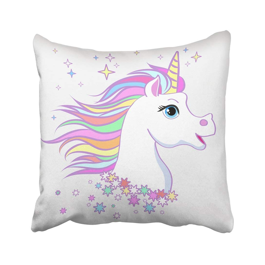 BPBOP Unicorn Head Portrait Magic Fantasy Horse For Children And Bags Childish Character White Pillowcase Pillow Cover 20x20 inches