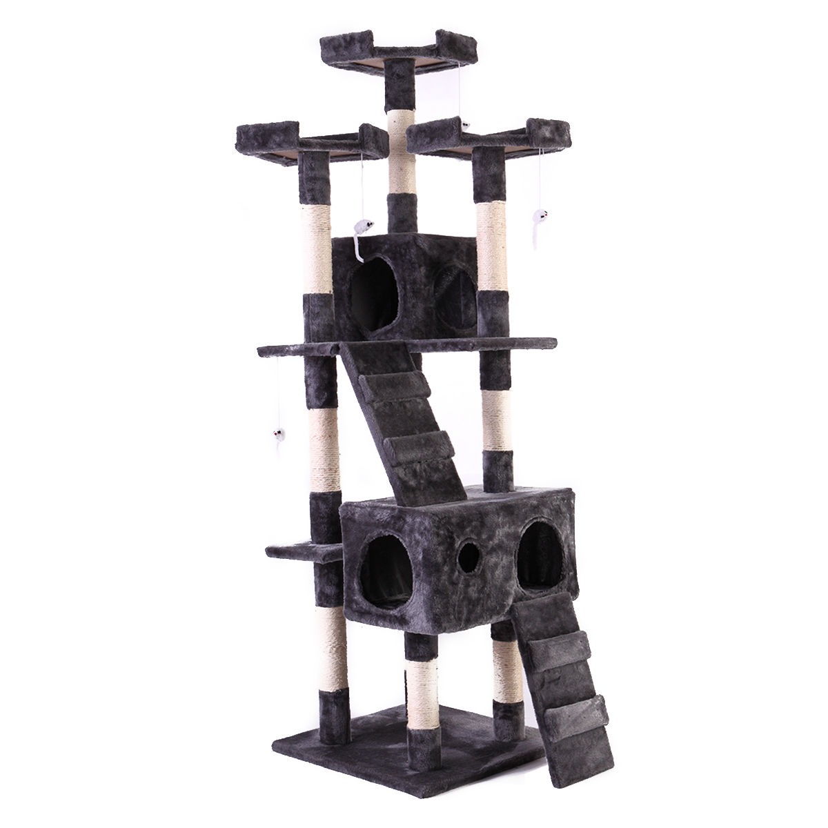 "67"" Cat Tree Pet Scratching Post Tower Condo Furniture Kitty Play House Gray by Lazymoon"