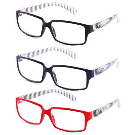Newbee Fashion - IG Unisex Black & White Striped Transparent Temple Retangle Frame Clear Lens Eye Glasses (Glasses Black Frame Mirrored Lens)