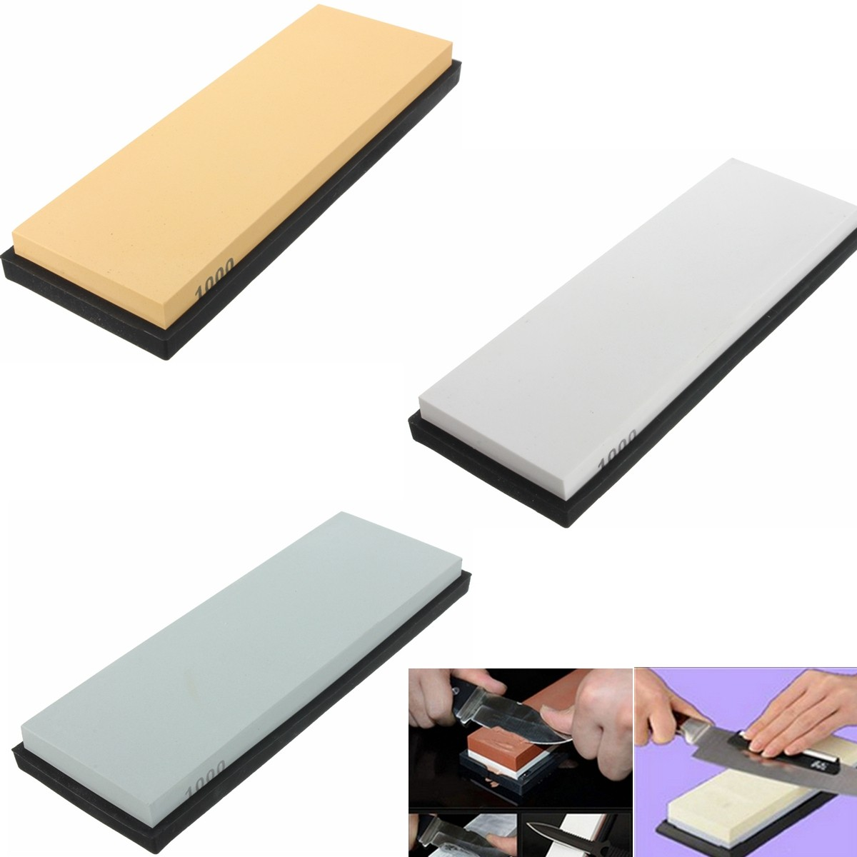 Water Stone Sharpening Sharpener Stone Grit Whetstone With Stand Polishing Kitchen Tool