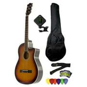 Fever 3/4 Size Acoustic Cutaway Guitar Package Sunburst with Gig Bag, Guitar Tuner, Picks and Strap, FV-030C-SB-PACK
