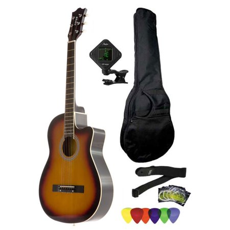 Fever 3/4 Size Acoustic Cutaway Guitar Package Sunburst with Gig Bag, Guitar Tuner, Picks and Strap,