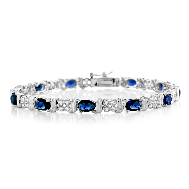 "8.65 Carat Simulated Blue Sapphire & Cubic Zirconia Bracelet In Gold-Plated Brass 7.25"" by"
