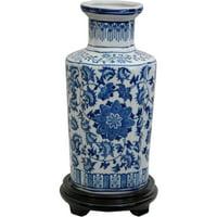 """Oriental Furniture 12"""" Floral Blue & White Porcelain Vase, living room"""