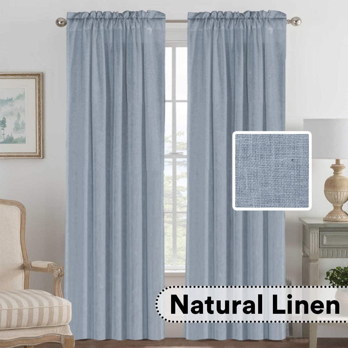 Linen Curtains Elegant Natural Linen Blended Curtains Energy Efficient Light Filtering Rod Pocket Window Treatments Panels Drapes For Livingroom Set Of 2 Stone Blue 52 X 84 Walmart Com Walmart Com