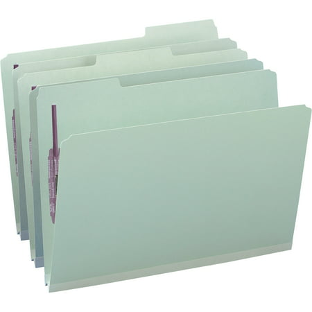 """Smead Pressboard File Folder with SafeSHIELD® Fasteners, 2 Fasteners, 1/3-Cut Tab, 1"""" Expansion, Legal Size, Gray/Green, 25 per Box (19931)"""