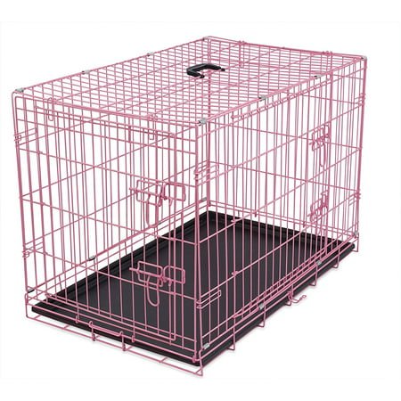 Internet's Best Wire Dog Kennel | Small (24 Inches) | Double Door Metal Steel Crates | Indoor Outdoor Pet Home | Folding and Collapsible Cage |