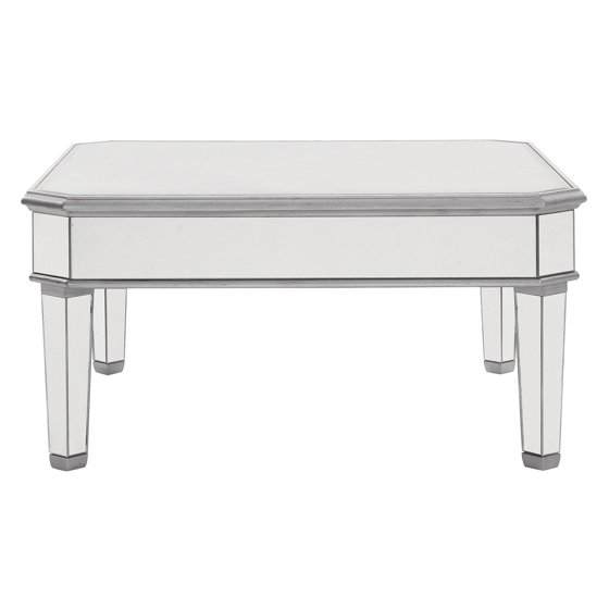 Elegant Lighting Mirrored Square Coffee Table, Silver