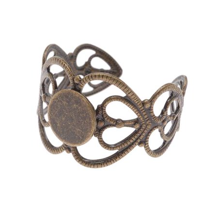 Antiqued Bronze Color 19x14mm Ornate Heart Adjustable Ring (1)